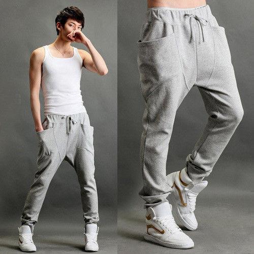 Mens Womens Casual Harem Baggy Tomboys Hip Hop Dance Sweat Pants Slacks Trousers
