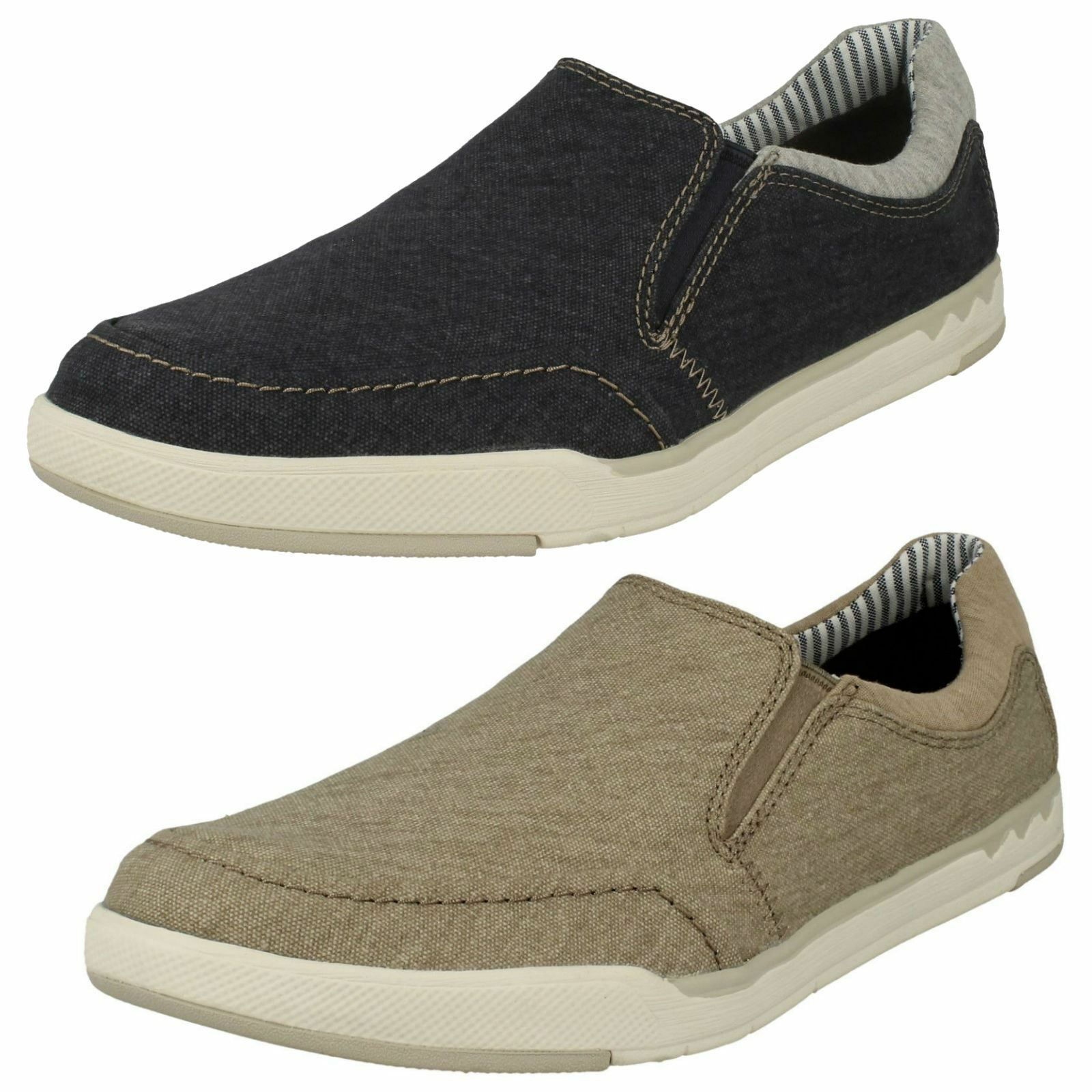 Mens Clarks Cloudsteppers Step Isle Slip Canvas schuhe