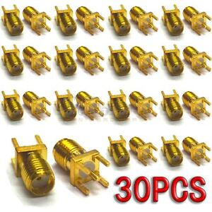 30pcs-Gold-SMA-KHD-Female-Solder-PCB-Board-Mount-Straight-RF-Connector-Adapter