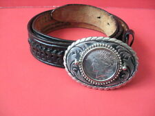 "Vintage El Mayor USA Men's 36"" Leather Belt w/ 1927 Liberty Silver Dollar Buckle"