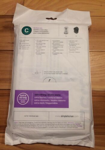 Lot of 5 Code C 20 Ct SIMPLEHUMAN Custom Fit Trash Bags Can Liners Refill Size