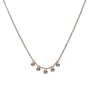 ba3d8939a640a Details about 925 Rose Gold Sterling Silver Round Bezel Charms w/ CZ Stone  Choker Necklace 16