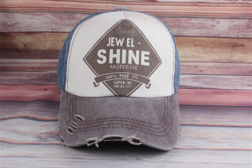 1x plat Bill Denim Distressed Cap Vintage Base-ball casquette camionneur Meil IU