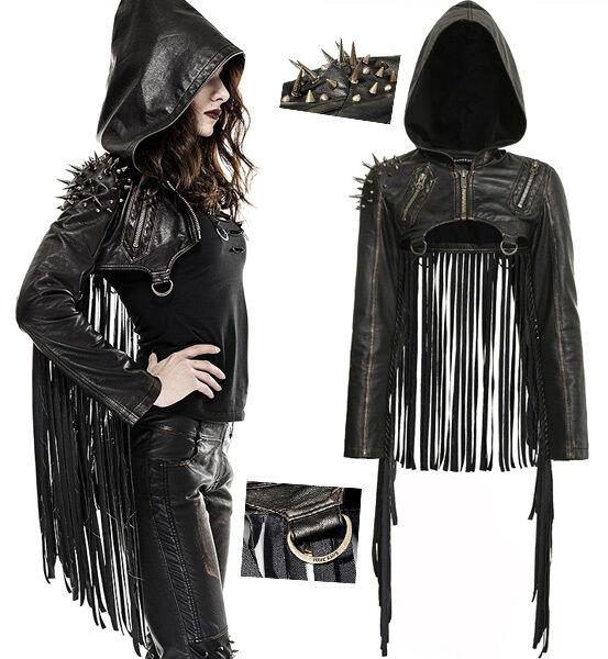 OUTLET Veste courte cuir franges gothique punk lolita capuche clous PunkRave