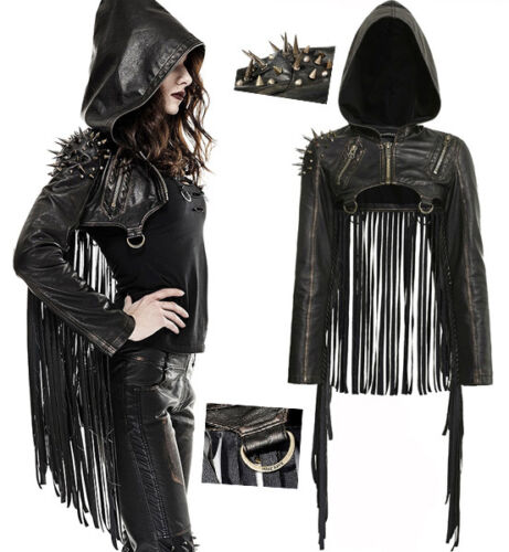 Punk Fashion Punkrave Leather Jacket Chiodi Lolita cappuccio Short Fringe con Gothic wx7gqpTI