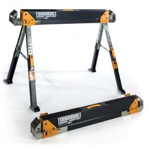 SAWHORSE-Adjustable-Height-Width-Jobsite-Table-Folding-Heavy-Duty-Steel-Portable