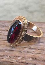 Antique Victorian 14k Gold Cabochon Garnet Ring Cir 1860s