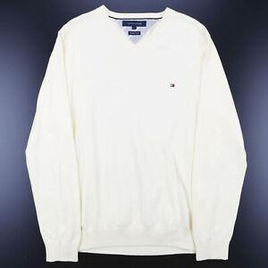 Vintage TOMMY HILFIGER gelb 00s V-Ausschnitt Baumwolle Uni Pullover Herren L