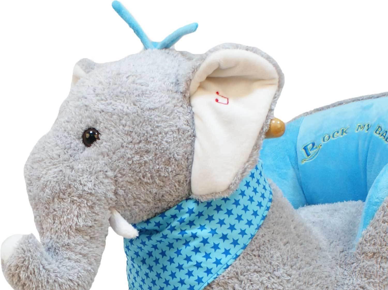 Dunjo® Schaukelpferd Schaukeltier Schaukeltier Schaukeltier Elefant in Grau mit Rollen und Sound 231a4a