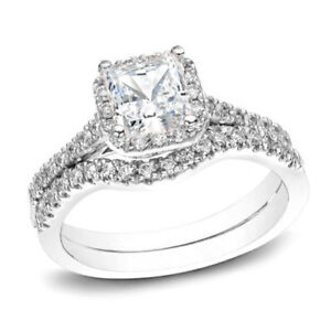 Certified 2ct Pear Cut Diamond Halo Bridal Set Engagement Ring in 14K White Gold