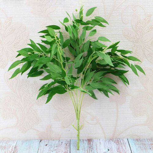 Willow Leaves Fake Rattan Prop Artificial Plant Silk Flower Branch Home Decor FB