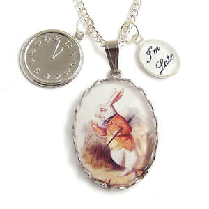 The-White-Rabbit-Alice-in-Wonderland-necklace-I-039-m-late-clock-watch-silver-charm