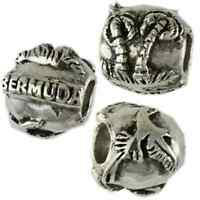 Bermuda Island Palm Tree Longtail Story Bead Charm Sterling Silver 925