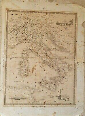 Cartina Italia 800.Antica Carta Geografica Dell Italia Del 800 Ebay
