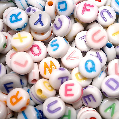 200 7mm White Flat Round Disc Acrylic Mixed Pastel Letter Alphabet Beads