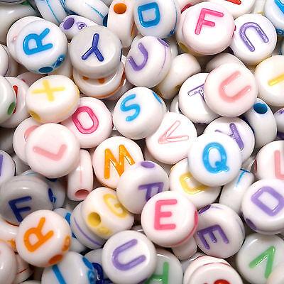 200 7mm White Flat Round Disc Acrylic Mixed Pastel Letter Alphabet Beads