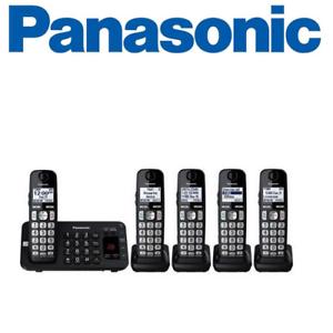 eab155c46 Image is loading Panasonic-KX-TGE445B-Expandable-Cordless-Phone-with- Enhanced-