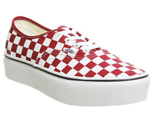 6e6769f4fcca66 Image is loading Vans-Authentic-Platform-Checkerboard-Racing-Red-Mens-Womens -