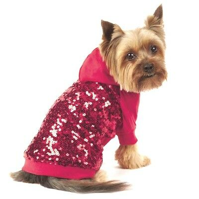 Dog Shirt Red Sequin XS S M L Chihuahua Puppy Jacket Clothes Coat Jumper Bling