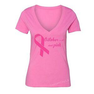 Breast-Cancer-awareness-All-about-PINK-Ribbon-survivor-Women-Vneck-T-shirt