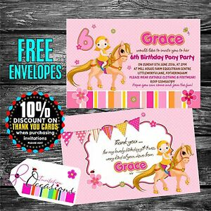 Personalised birthday invitations horse riding pony party x 5 ebay image is loading personalised birthday invitations horse riding pony party x stopboris Image collections