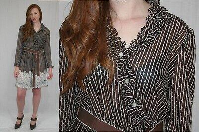 1980s Secretary Dress Light Taupe Brown Polka Dot Rose Floral Lace Pattern Print Button Front Knee Length Elastic Waist sz Medium b 36