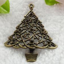 Free Ship 14 pcs bronze plated Christmas tree pendant 63x49mm #232