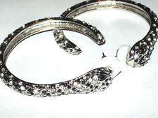 """Hoop Earrings SNAKE Head Rhinestone Hoop Earrings 2 1/2"""" Black Clear Rhinestones"""