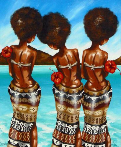 art painting fiji island beach tropical COA palm tree andy baker original print