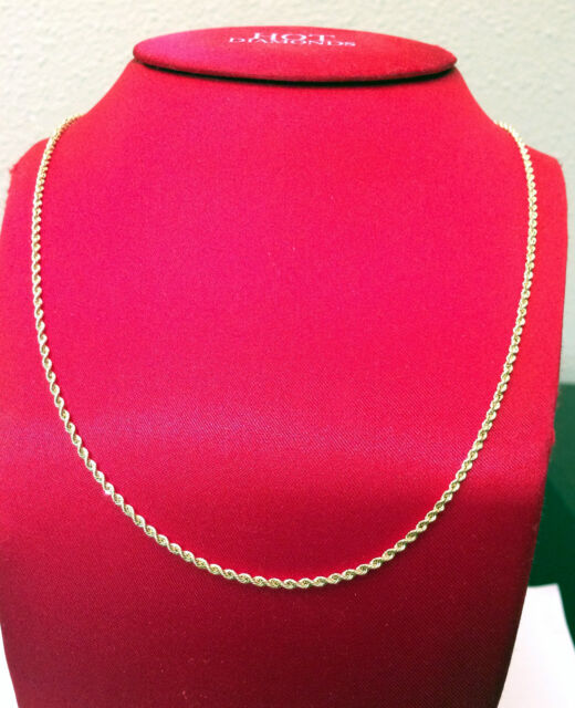 """Men Women Real 14k Yellow Gold Necklace Hollow Rope Chain 2mm 20"""" 20 inch"""