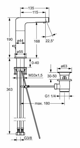 55262203 Hansa Hansaronda Waschtisch-Einhand-Einlochbatterie mit Zugstangen..
