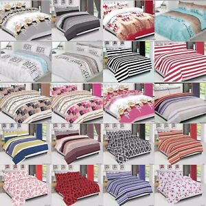 Duvet-Covet-Set-Quilted-Cotton-Beddings-Set-With-Pillow-Cases-amp-Fitted-Sheet