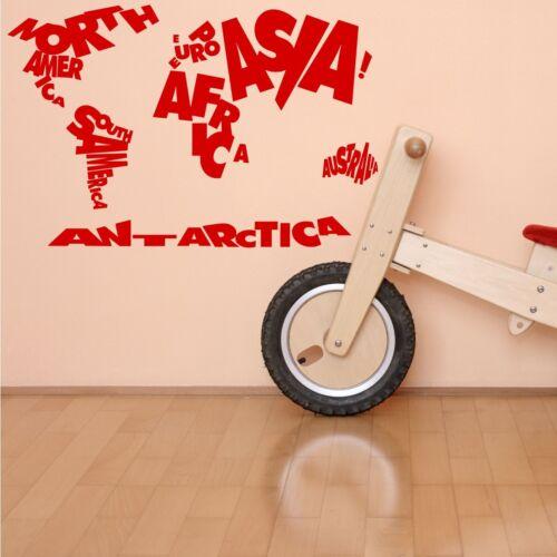 CHILDS NIÑOS Mapamundi Dormitorio citar aprendizaje pegatinas de pared arte transferencia calcomanía