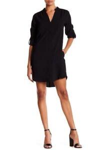 Lush Novak Women's Small S 3/4 Sleeve Shift Tunic Dress Split Neck Black NEW