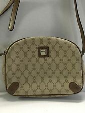 NINA RICCI Leather and Monogram Canvas Cross Body Bag Retro 1980s