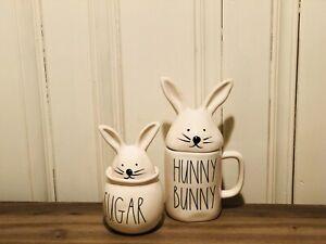 Rae-Dunn-Easter-By-Magenta-HUNNY-BUNNY-Mug-SUGAR-Bowl-Set-of-2-with-Bunny-Lid