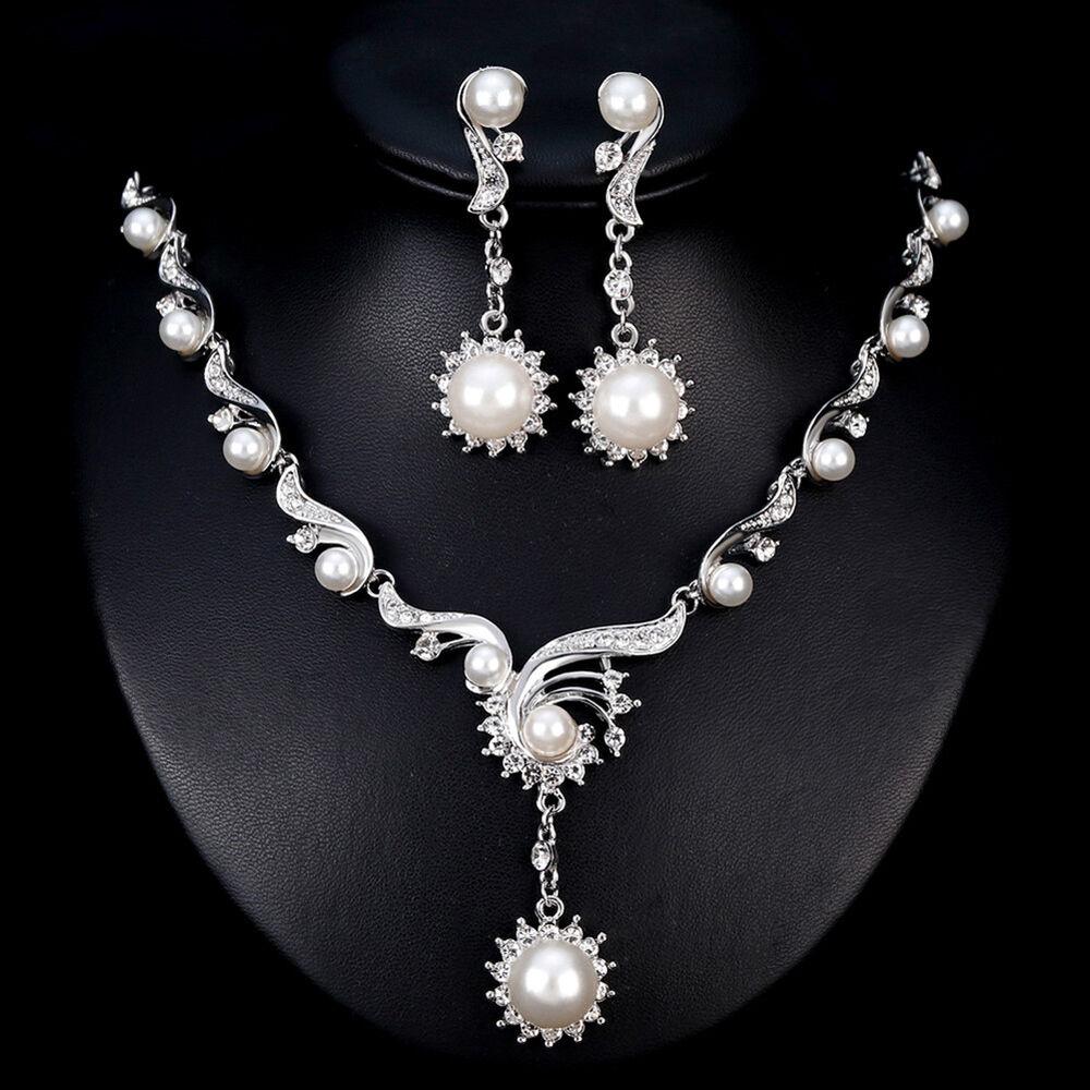 DV_ Women Rhinestone Necklace Earrings Wedding Cocktail Part