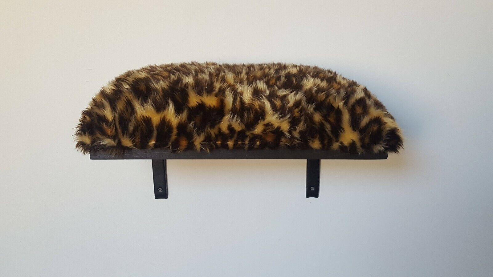 Large Faux Fur Animal Print Cushion Cat Shelf - Pine Wood