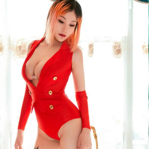 Open Crotch Bodysuit Leotard Catsuit Erotic Lingerie Cosplay Costume Uniform
