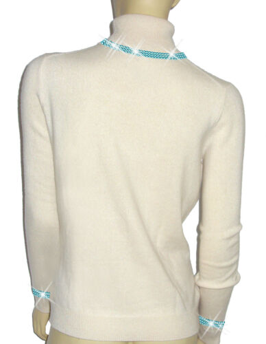 38 Pull 100 Perlé Cachemire Lifestyle Dor Hamptons Turquoise Luxe ` Oh 40 Blanc xqPHZ1A
