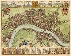 Map Of London England And Surrounding Area.Old Great Britain Map London And Thames River England 1689 29