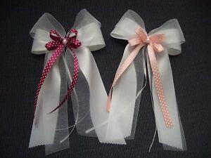 10 Autoschleifen Antennenschleifen Organza Satin Perle Weiss Pink