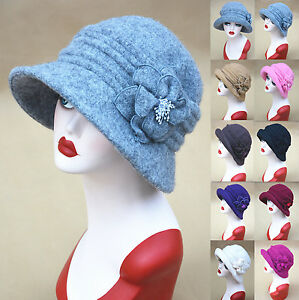 A299-Womens-Downton-Abbey-Style-1920s-60-Wool-Cloche-Bucket-Hat-Winter-Cap