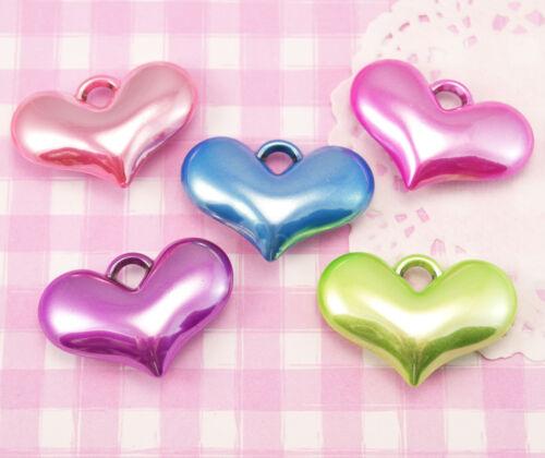 10 x X-LARGE Pearlised Heart Shaped 3D Kawaii Colourful Beads Jewellery Making