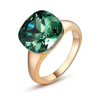 Big Swarovski Crystal Emerald Ring Engagement Wedding Bride 18K Gold GP Hot R246