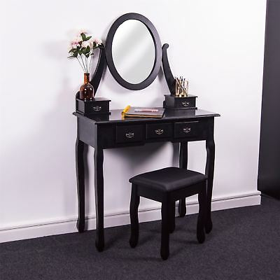 Nishano 5 Drawer Dressing Table Black Bedroom Stool Mirror Makup Desk Dresser