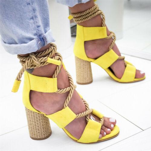 US Sandals Ankle Strap Cross-Strap Women Sandals High Heels Bandage Summer Shoes