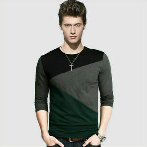 Fashion-Men-039-s-Slim-Fit-Long-Sleeve-T-shirts-Casual-Tee-Shirt-Tops-Pullover-Top