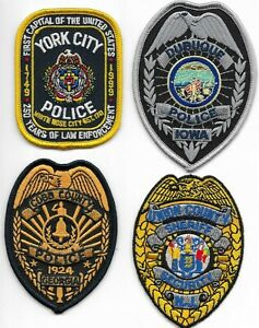 SET Nr.15:  4 Stück USA  Police Breast Patch Polizei Brust- Abzeichen je 8,5 cm