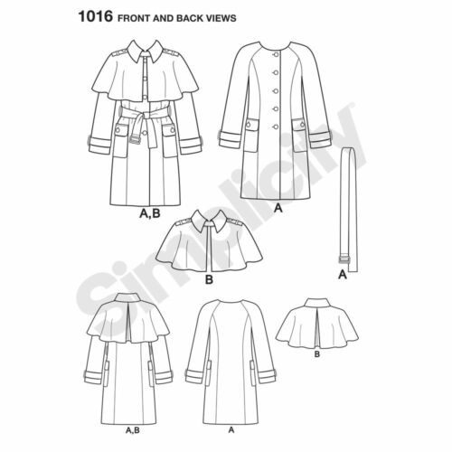S1016 Simplicity Sewing Pattern Misses/' Fall Winter Coat Detachable Cape Mimi G